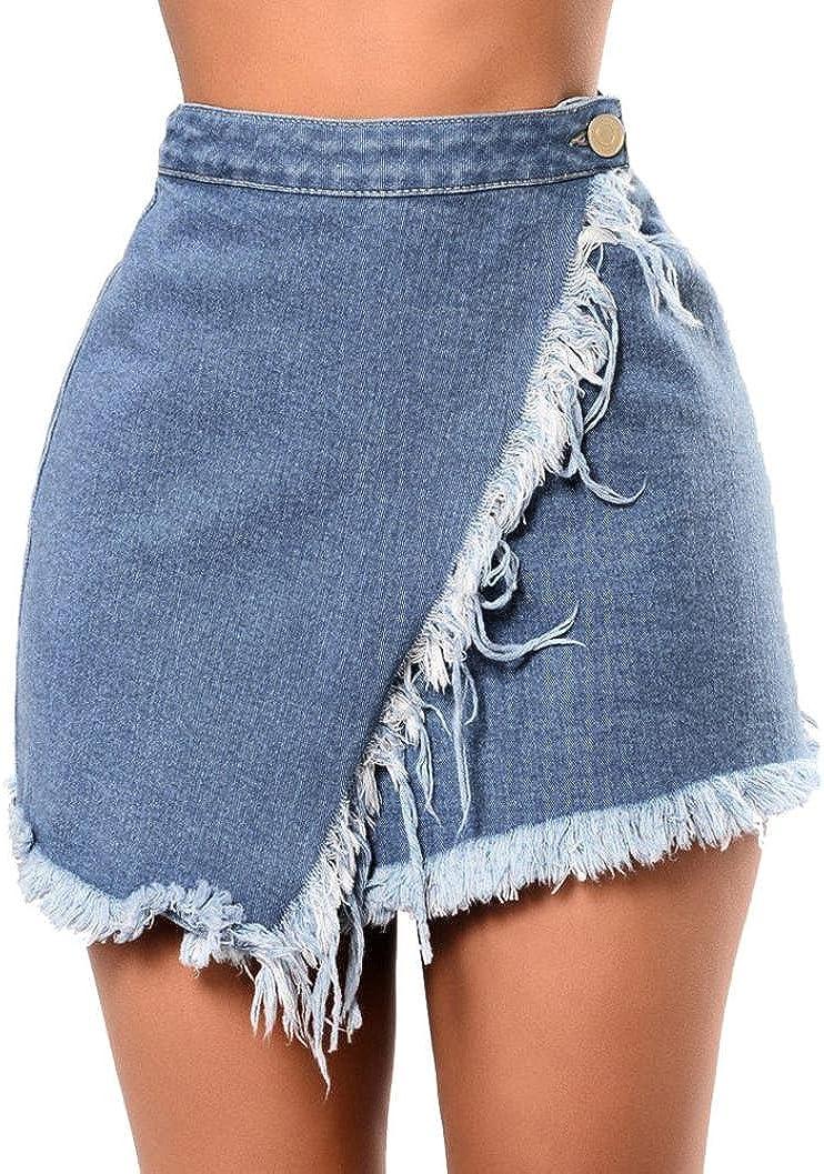 Wm Mw Women Teen Girls High Waist Solid Tassels Denim Skirts Mini Short Skirt Beach Party Skirt At Amazon Women S Clothing Store