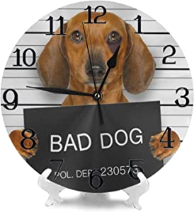 Wall Clock Large Dachshund Sausage Dog Holding Police Department Banner Non Ticking Kitchen Living Room Bathroom Outdoor Wall Clocks Battery Operated Modern Bedroom Cute Round Cool Office Decor Kids W