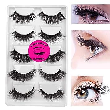 88b5b74f985 Amazon.com : 5pairs Variety Mink Lashes Strip - DAODER Dramatic False  Eyelashes Thick Volume Wispies Fake Lashes : Beauty
