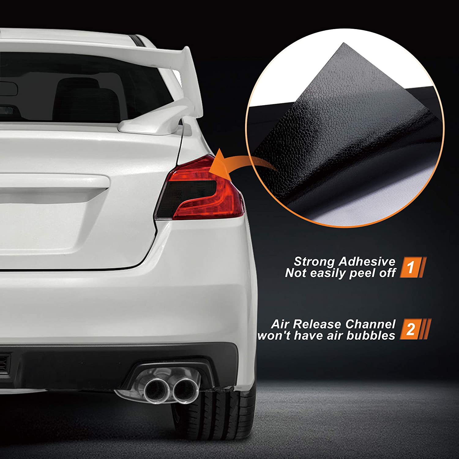 Air-Release Tail Light Wrap Cover Compatible with 2015-2020 Subaru WRX//STI NDRUSH Blackout Taillight Vinyl Tint Film Precut Overlays