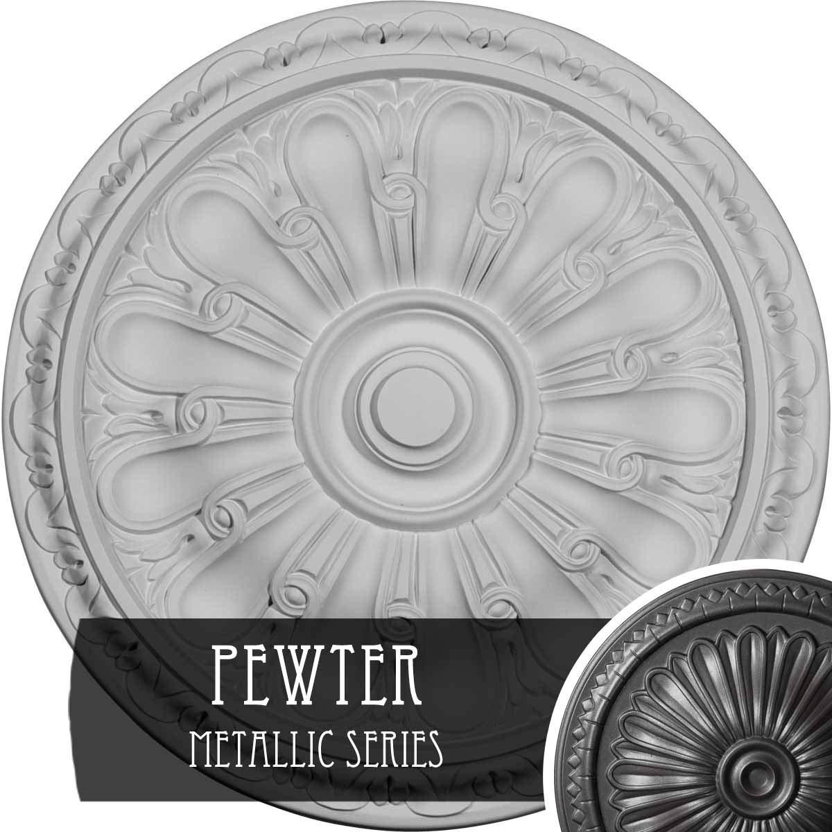 Ekena Millwork CM16KIPES Kirke Ceiling Medallion, Pewter