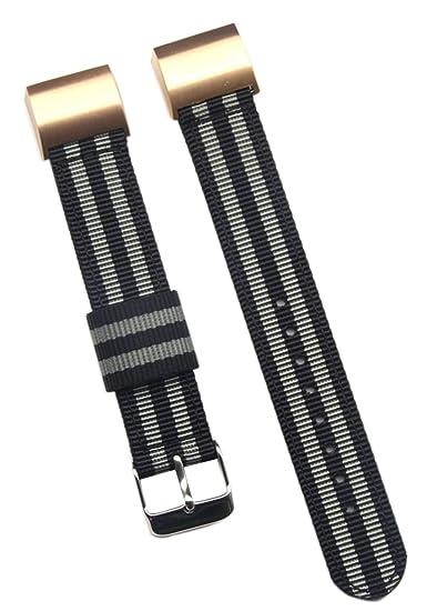 18 mm bandas de lujo negro / gris duraderos reloj de nylon correas para los hombres de Fitbit Carga 2 reloj inteligente: Amazon.es: Relojes