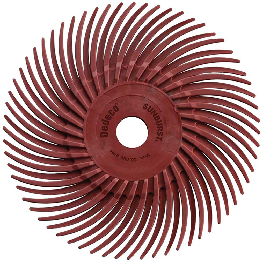 Dedeco Sunburst - 3 Inch TC Radial Bristle Discs - 3/8 Inch Arbor - Industrial Thermoplastic Rotary Cleaning and Polishing Tool, Standard 220 Grit (12 Pack)
