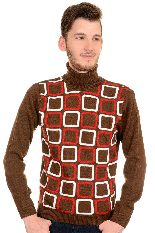 1960s Men's Sweaters 60s Vintage Retro Squares Op Art Mod Roll Neck Jumper $39.95 AT vintagedancer.com