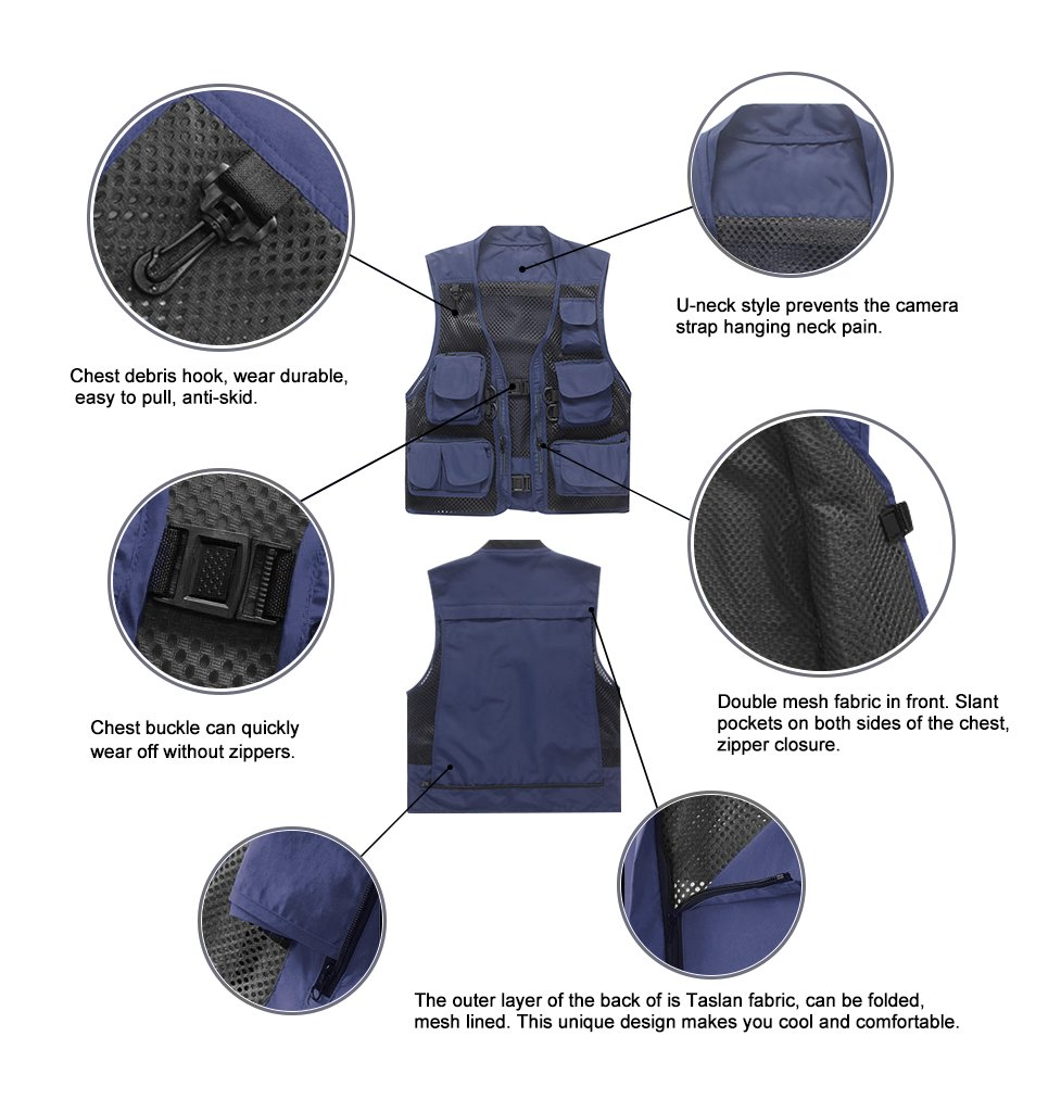Marsway Outdoor Quick-Dry Fishing Vest Multi Pockets Mesh Vest Fishing Hunting Waistcoat Travel Photography Jackets