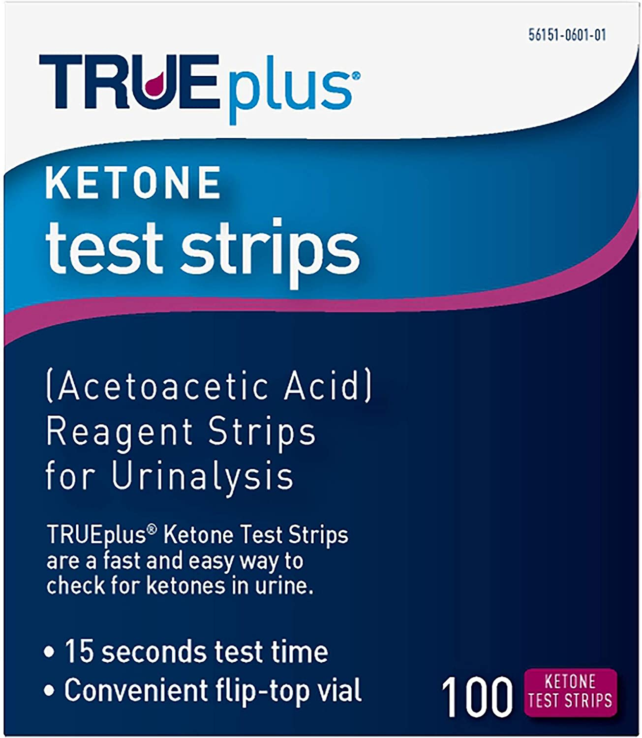 TRUEplus® Ketone Test Strips – Ideal for Low-carb dieters– Made in USA–Urinalysis Test Sticks (100)
