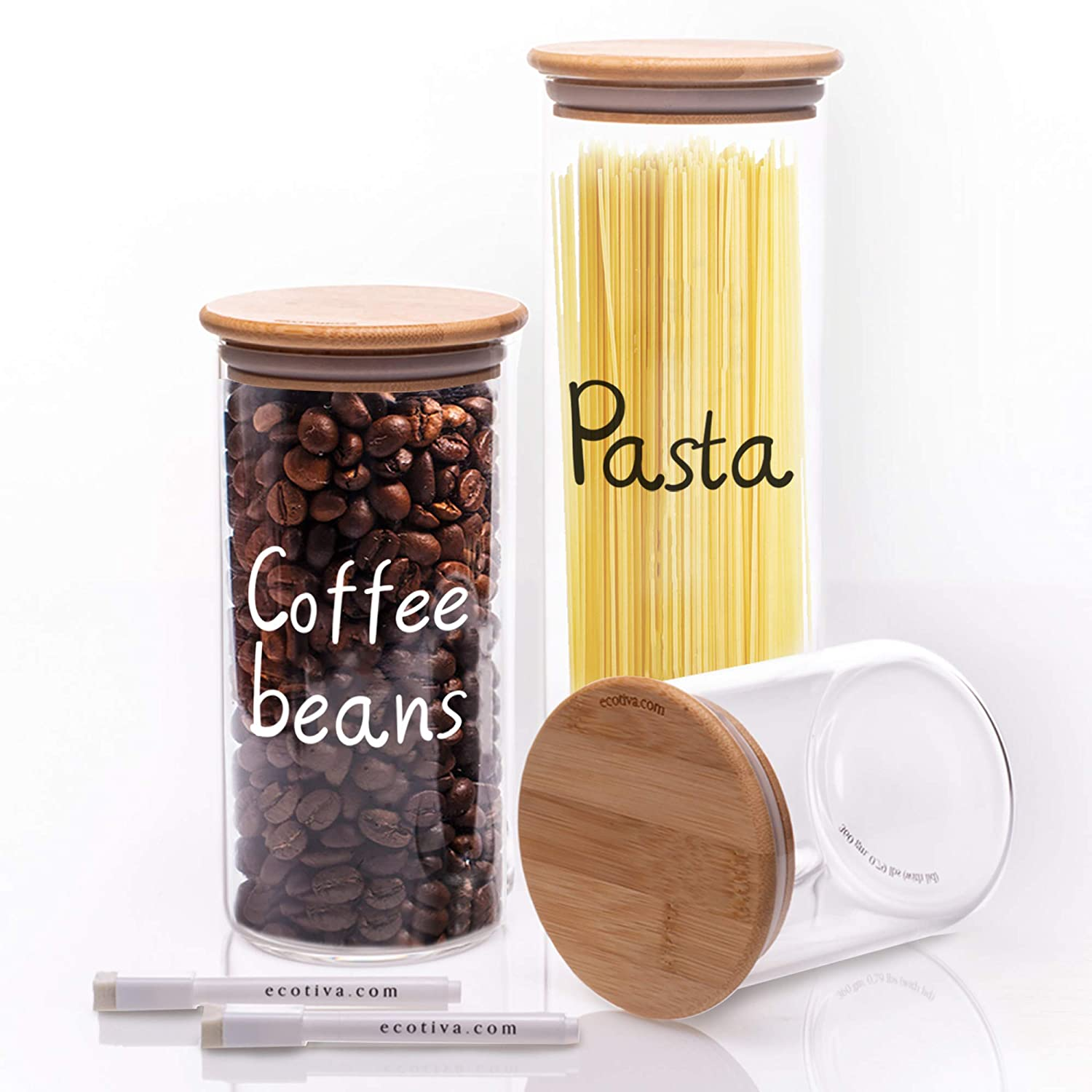 Glass Jars With Bamboo Lids - Glass Kitchen Canisters (3) - Bamboo Glass Storage Containers - Kitchen Jars With Markers For Labeling And Tare Weights On Bottom - Glass Canisters Sets For The Kitchen - Glass Jars With Wood Lids