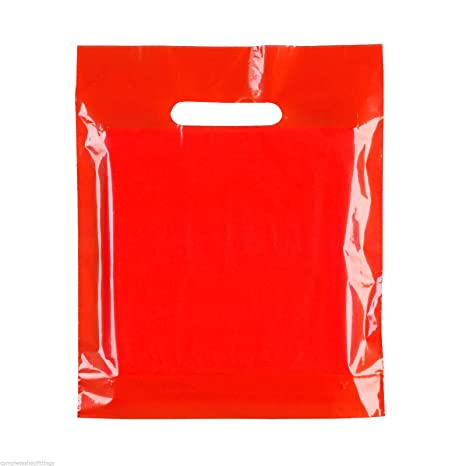 100 x rojo plástico resistente de color bolsas fiesta bolsas ...