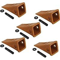 OrangeA Set of 5-1U3352 Cat Bucket Teeth Digging Long Bucket Teeth with Pins and Retainers Chisel Bucket Digging Teeth for Skid Steer