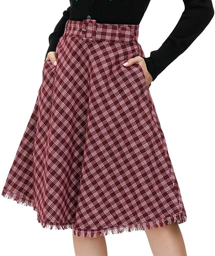Vintage Skirts | Retro, Pencil, Swing, Boho Belle Poque Womens Vintage Pleated Midi Skirts High Waist A-line Flared Skirts Pockets $22.99 AT vintagedancer.com