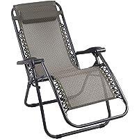 Zero Gravity Portable Reclining Lounge Folding Outdoor Camping Beach Chair Beige