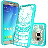 Galaxy Note 5 Clear Case with HD Screen Protector, AnoKe [Scratch Resistant] Colorful Mandala Flower Acrylic Hard Rubber Slim Fit TPU Bumper Hybrid Case For Samsung Galaxy Note 5 -TM Mint