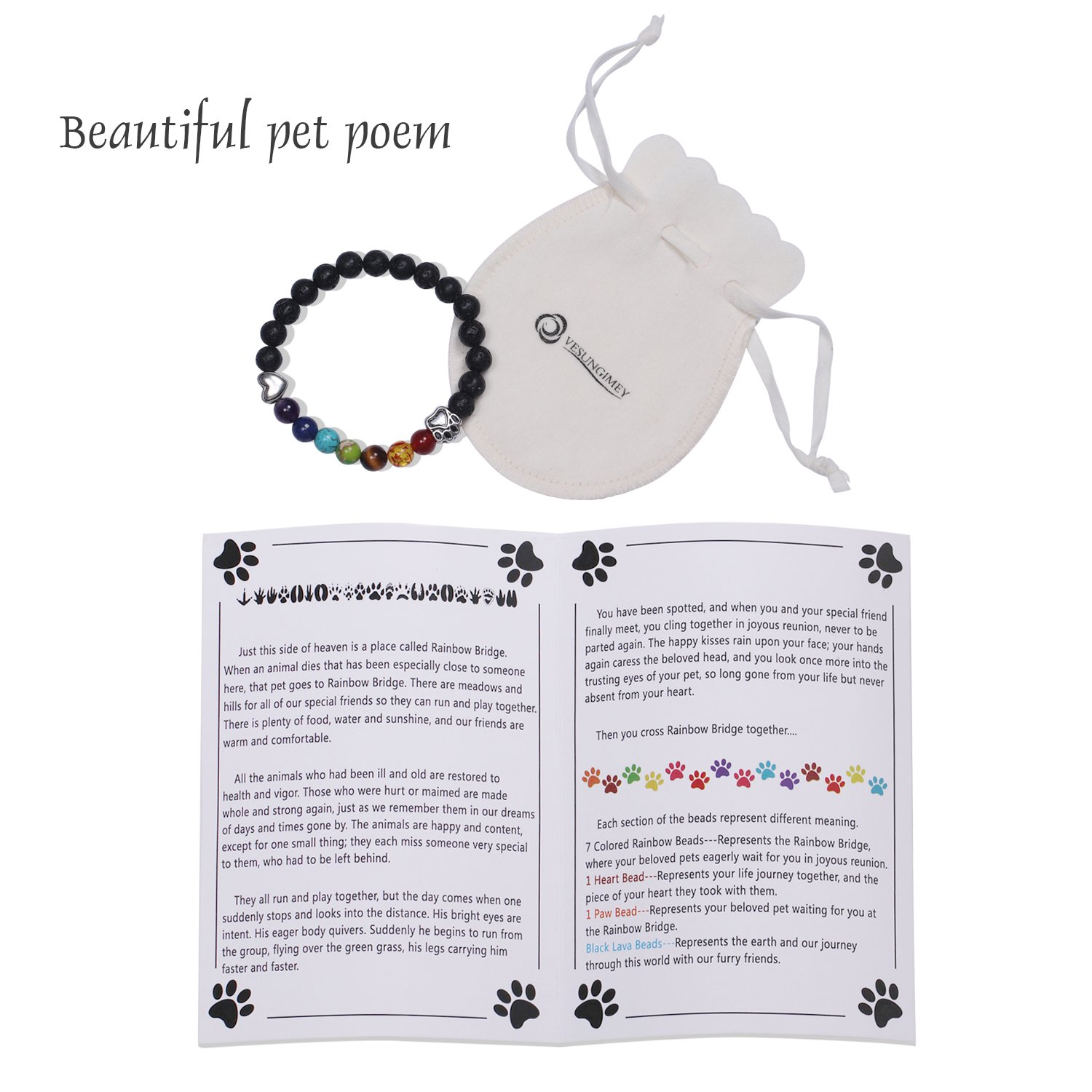 Vesungimey Pet Memorial Gifts Bracelet Loss Of Pet Gifts