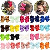 Pinzas Para el Cabello niñas Bebé arco Grosgrain cinta Pinza de pelo cocodrilo para bebés niños 20 piezas (4 pulgadas)