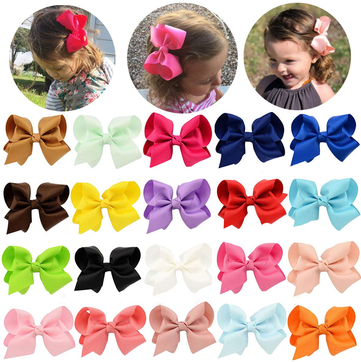 4.5'' Baby Girl Toddler Hair Bows With Alligator Clip Grosgrain Barrettes Accessories For Anfant