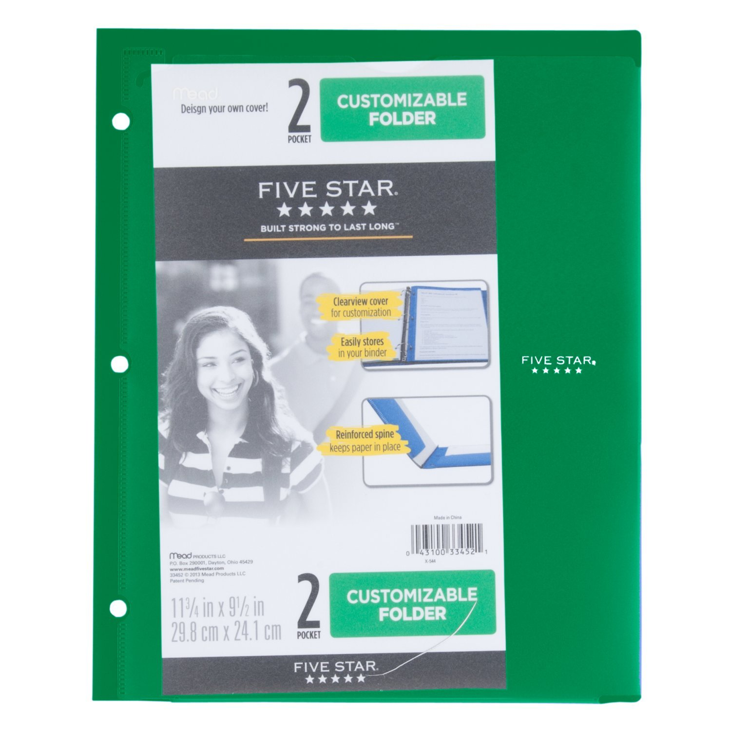 Five Star 2 Pocket Folder, Customizable Cover, Folder with Pockets, Fits 3 Ring Binder, Plastic, Black, Red, Green, Blue, 4 Pack (38098) by Five Star (Image #5)