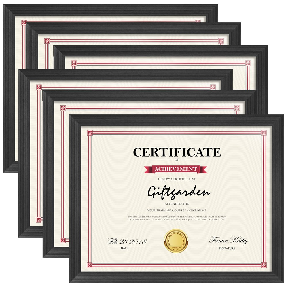 Giftgarden 8.5x11 Picture Frames Certificate Document Frame Set, Black, 6 Pack by Giftgarden