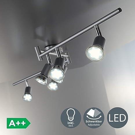 Lámpara de techo LED I Focos giratorios y orientable incl. 6x3W bombillas GU10 I Para habitación I Color titanio I metal I luz blanco cálido 3000K I ...