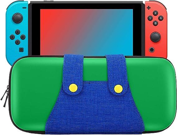 MoKo Funda Compatible con Nintendo Switch, Mario Estuche de EVA + PU Portátil Ligero Protector para el Panel del Control de Nintendo Switch con 10 Puestos de Cartucho de Juego – Verde +