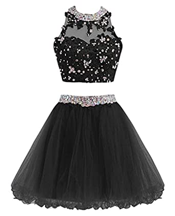 MEILISAY Women s Two Pieces Beaded Sparkly Prom Dresses Short Homecoming  Dresses Cocktail Party Dresses at Amazon Women s Clothing store  bc0da80baf77