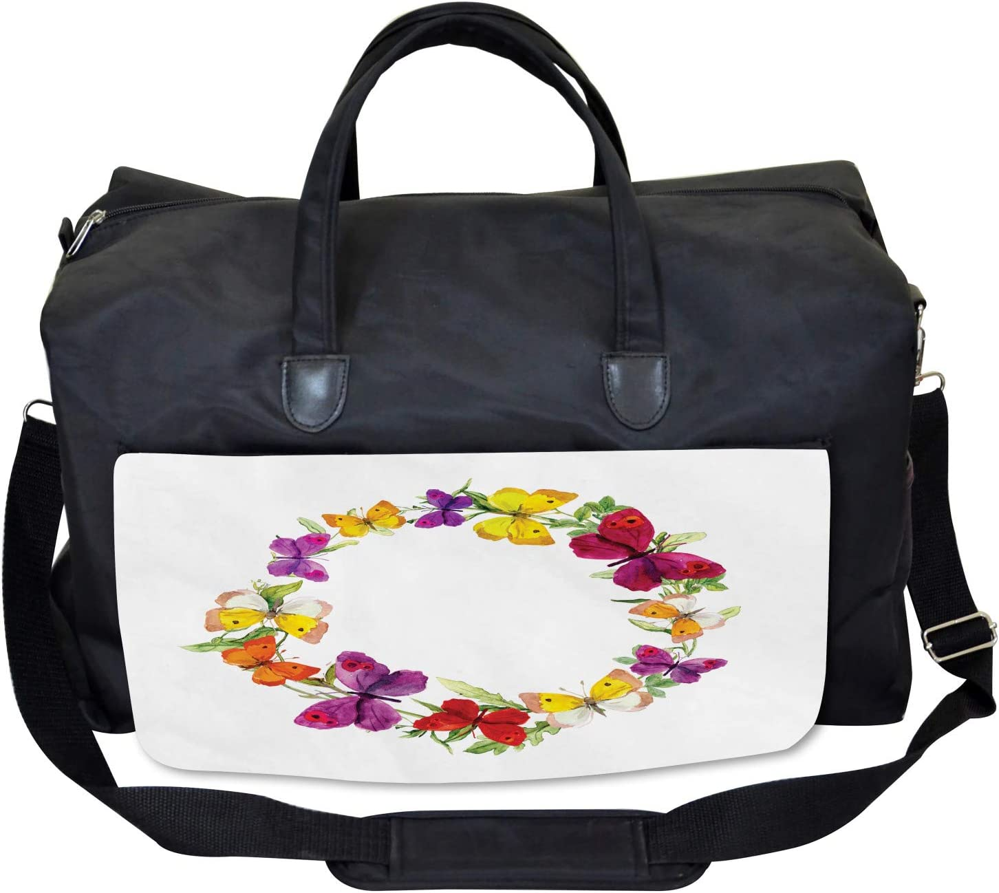 Ambesonne Colorful Gym Bag Large Weekender Carry-on Butterfly with Herbs