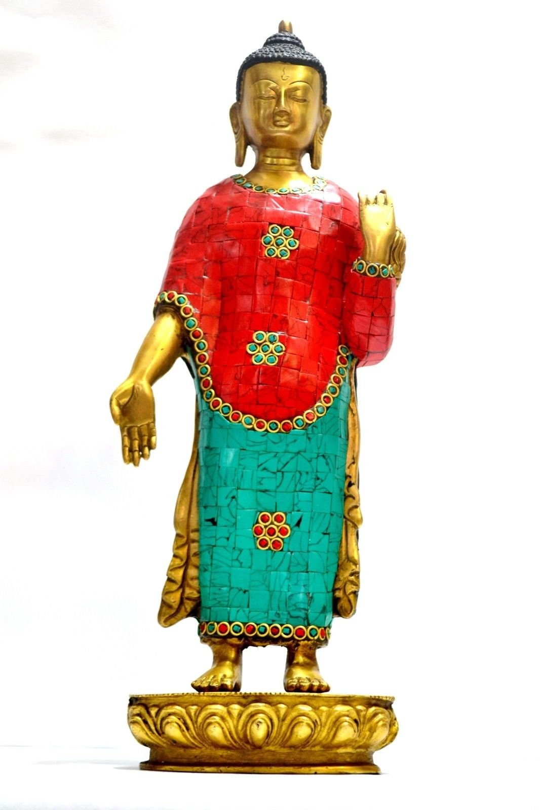 15'' Tibet Big Buddha Statue, Tibetan Thai Chinese Turquoise Brass Buddhism Buddhist ... by CraftVatika