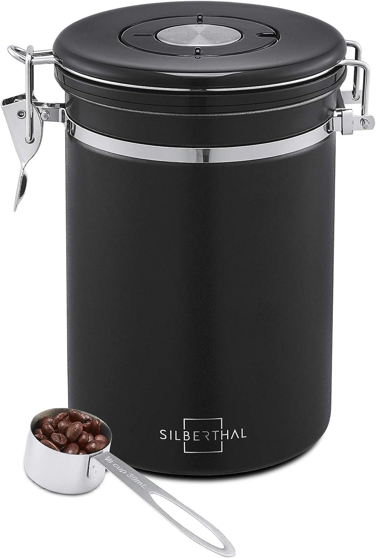 SILBERTHAL Bote café hermetico de Acero Inoxidable con Cuchara | Tarro Cafe 500g | Bote Cafe hermetico para Cafe Grano o Cafe molido | Negro