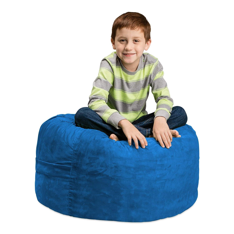 Chill Sack Bean Bag Chair: Large 2 Memory Foam Furniture Bean Bag - Big Sofa with Soft Micro Fiber Cover - Royal Blue