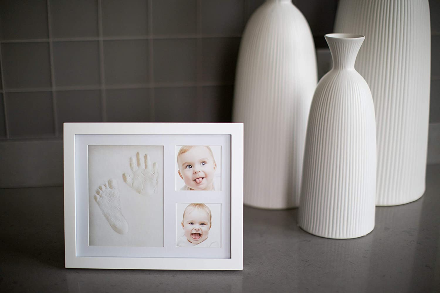 Very Pepper Clay Keepsake Handprint/&Footprint Photo Frame Kit-Unique Unisex Newborn Baby Shower Gift Ideas for New Parents Mom/'s Memory Sets for Infant Boys/&Girls Decoration for Child Nursery Room