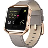 """Andyou for Fitbit Blaze Bands Leather with Frame Small Large (5""""-8.2""""), Genuine Leather Replacement Band with Silver…"""