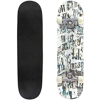 Classic Concave Skateboard Urban Graffiti Vector Seamless Pattern Longboard Maple Deck Extreme Sports and Outdoors Double Kick Trick for Beginners and Professionals : Sports & Outdoors