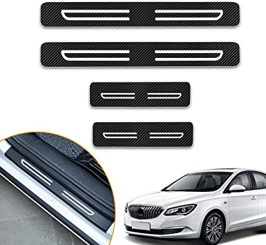 for BMW 2014-2016 X5 F15 Door Sill Protector Reflective 4D Carbon Fiber Sticker Door Entry Guard Door Sill Scuff Plate Stickers Auto Accessories 4PCS
