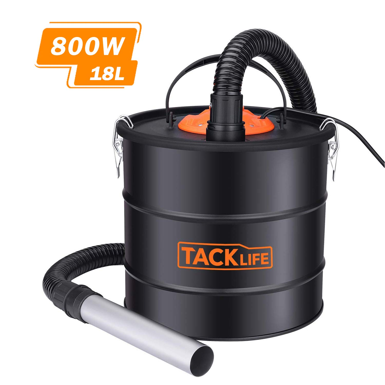 Dual Filtration System Ash Vacuum Cleaner 800W VAC Canister 5 Gallon Capacity Debris/Dust/Ash Collector, Suitable for Fire, Log Burners, Stoves-PVC03A