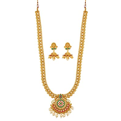 Buy Vareeca Copper Traditional South Indian Long Haram Pearl