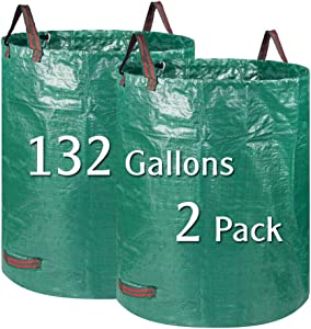 BTSD-home 2 Pack 132 Gallons Garden Bag Lawn and Leaf Bags Reuseable Yard Waste Bags with Dual Handles