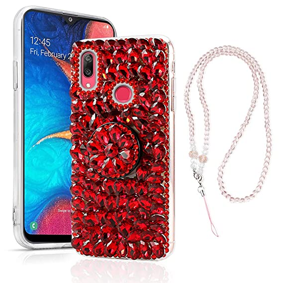 Samsung Galaxy A20 A30 Case, Bling Glitter Luxury Rhinestone 3D Diamond Sparkly Handmade Crystal Cover Soft TPU Bumper Protective Cover for Samsung ...