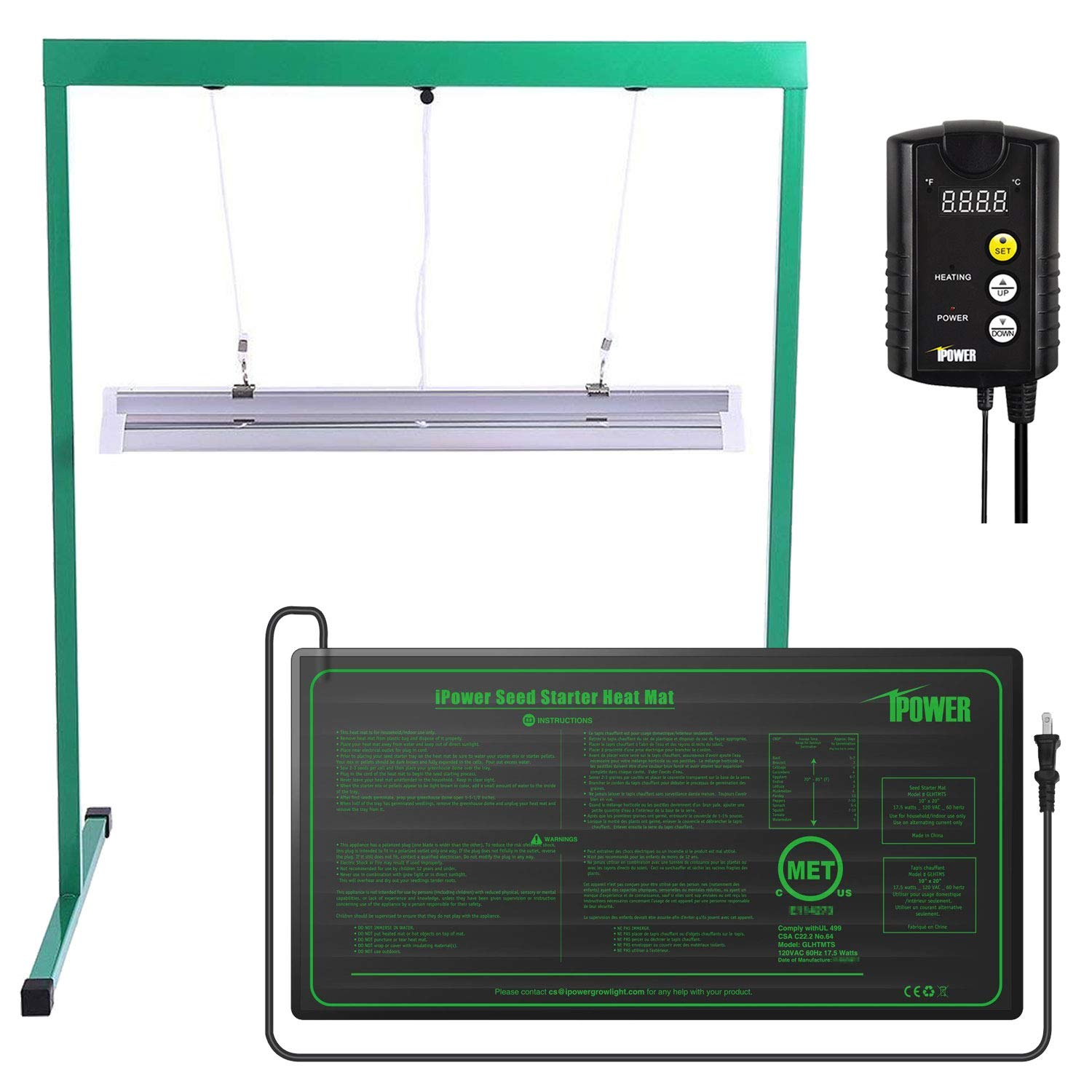 iPower 24W 2 Feet T5 Fluorescent Grow Light Stand Rack (6400k) and 10'' x 20.5'' Seedling Heat Mat and 40-108 Degrees Fahrenheit Digital Heat Mat Thermostat Controller Combo Set for Seed Germination by iPower