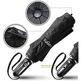 Auto Umbrella, YuGoo Automatic Open Close 10 Ribs 210T Waterproof Windproof Anti-UV Umbrella Canopy with Anti-Slip Handle - 47.3 Inches Black