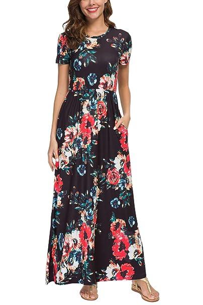 c7d3362136 Zattcas Womens Floral Maxi Dress Pockets Short Sleeve Casual Summer Long  Dress (Small,Black