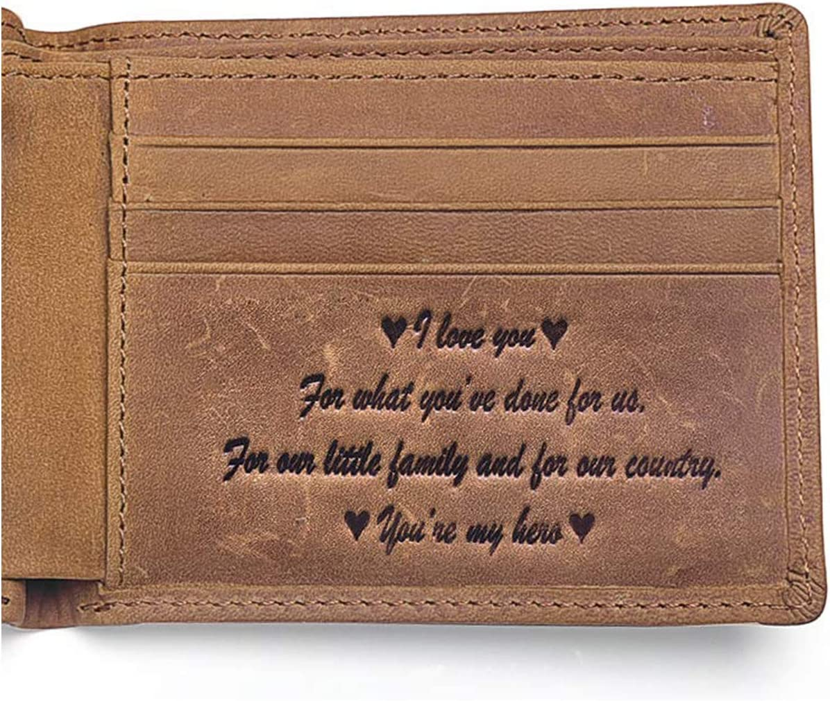 Birthday gift for brother Leather eangraved men/'s wallet Monogrammed wallet Small brown wallet with coin pocket for him