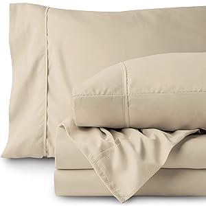 Bare Home Split King Sheet Set - 1800 Ultra-Soft Microfiber Bed Sheets - Double Brushed Breathable Bedding - Hypoallergenic – Wrinkle Resistant - Deep Pocket (Split King, Sand)