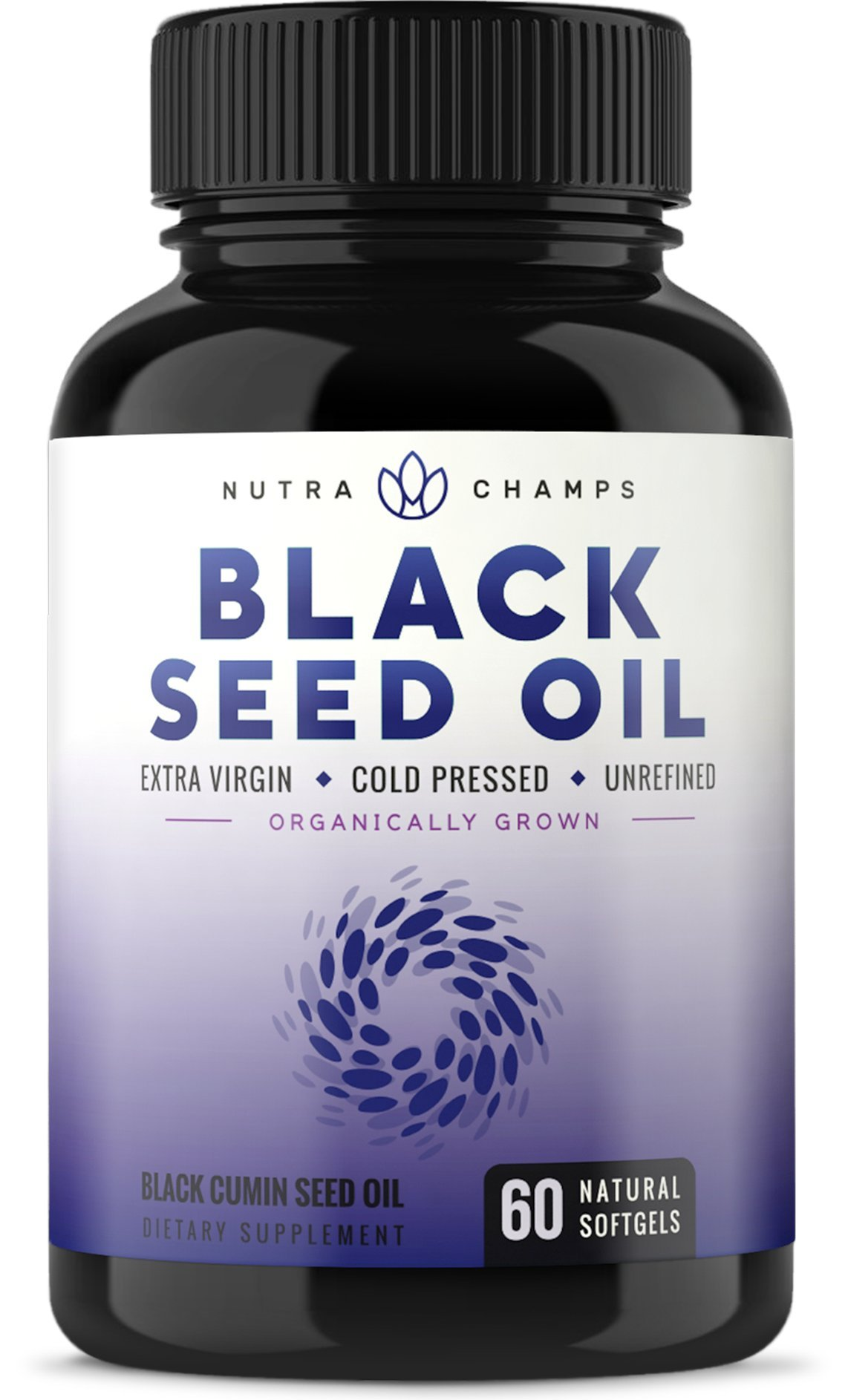 Organic Black Seed Oil Capsules - Premium 1000mg Black Cumin Supplement - Nigella Sativa Softgels with Thymoquinone & Omega 3 6 9-100% Pure, Extra Virgin, Unrefined, Cold Pressed, Unfiltered Pills