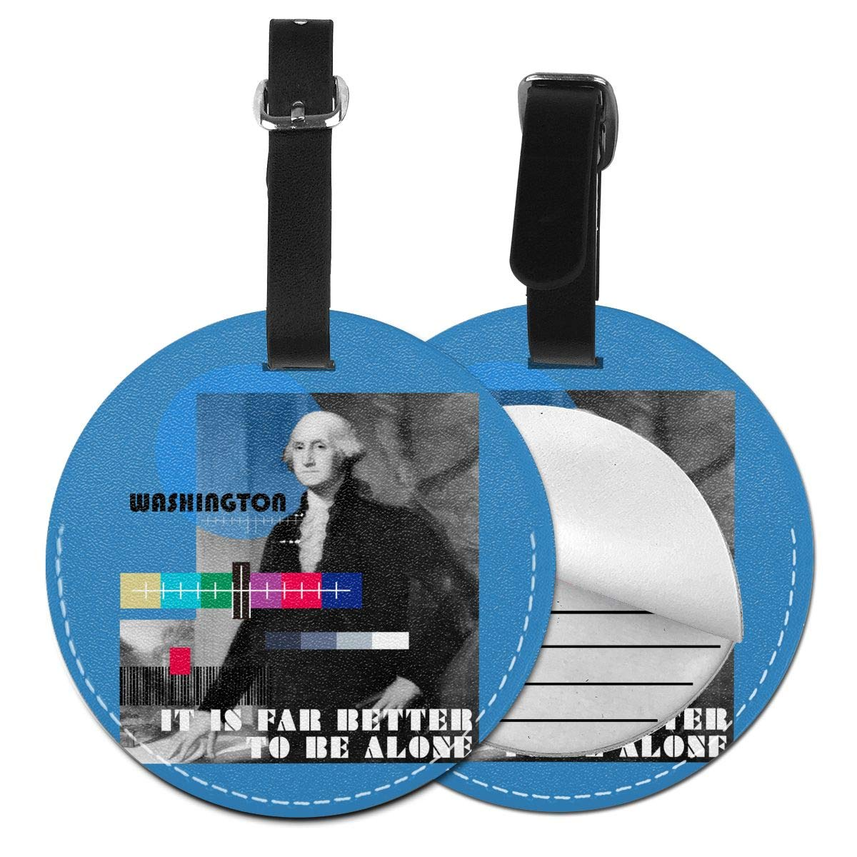 1pcs,2pcs,4pcs It Is Far Better To Be Alone Washington Pu Leather Double Sides Print Round Luggage Tag Mutilple Packs