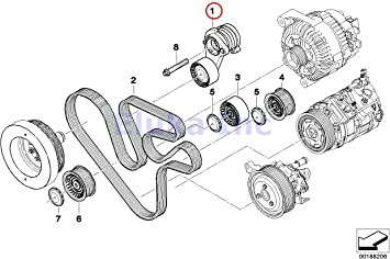 Amazon.com: BMW Genuine Drive Belt Tensioner with Pulley - Alternator A/C  Power Steering X6 35iX 740i 740Li: AutomotiveAmazon.com
