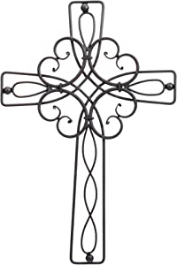 Dicksons Floral Open Intricate Black 17.5 Inch Metal Decorative Hanging Wall Cross