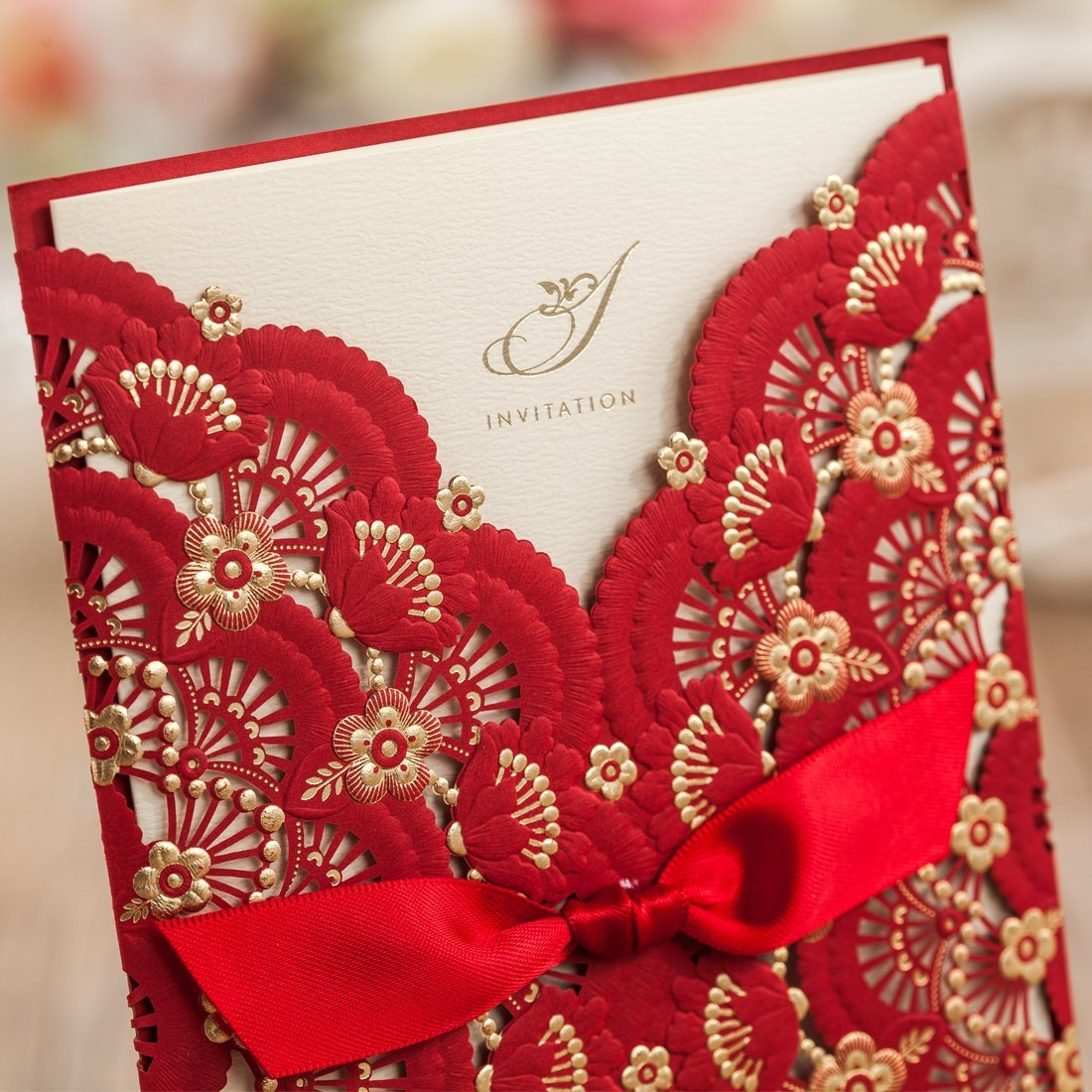 Amazon.com: Wishmade 50x Elegant Red Laser Cut Wedding Invitations ...