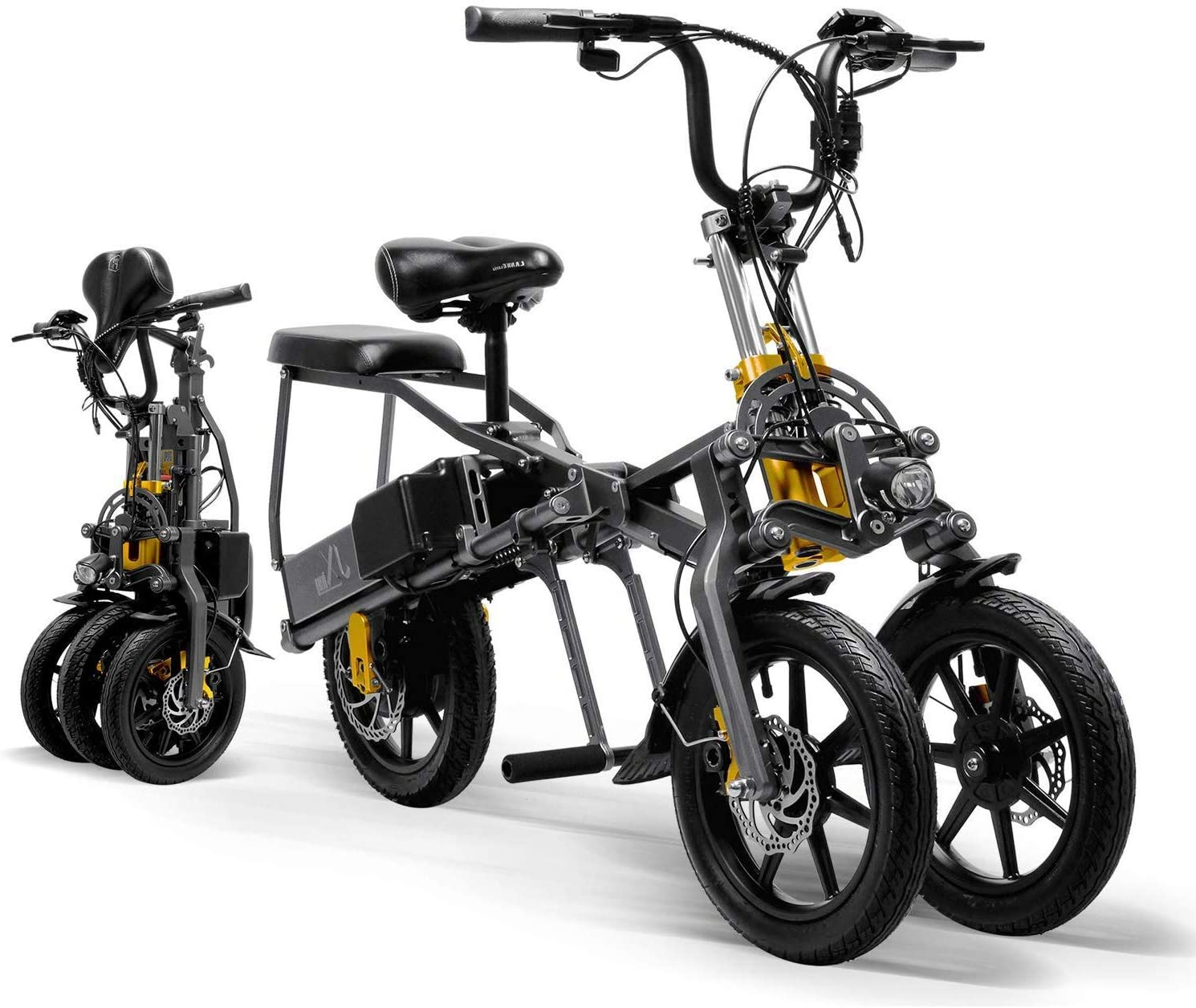 CYGGL Triciclo eléctrico para Adultos Plegable de Tres Ruedas Bicicleta de montaña eléctrica Mini Scooter hasta 30 km 25 km/h Batería de Litio Tres Modos de Velocidad Ruedas Grandes Deporte