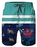 Alistyle Men's Stripe Print Swim Trunks Quick Dry