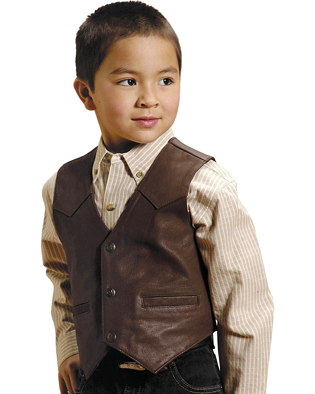 Victorian Kids Costumes & Shoes- Girls, Boys, Baby, Toddler Roper Boys Western Nappa Leather Vest - 02-094-0510-0502 Br $49.74 AT vintagedancer.com