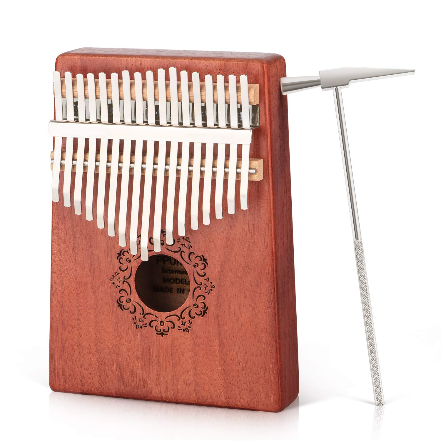 Kalimba 17 Keys Thumb Piano, Solid Finger Piano with Locking system, Instruction and Tune Hammer Solid Wood Mahogany Body